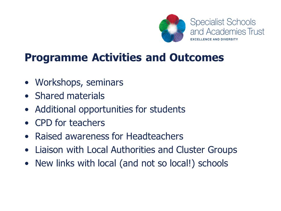 Programme Activities and Outcomes