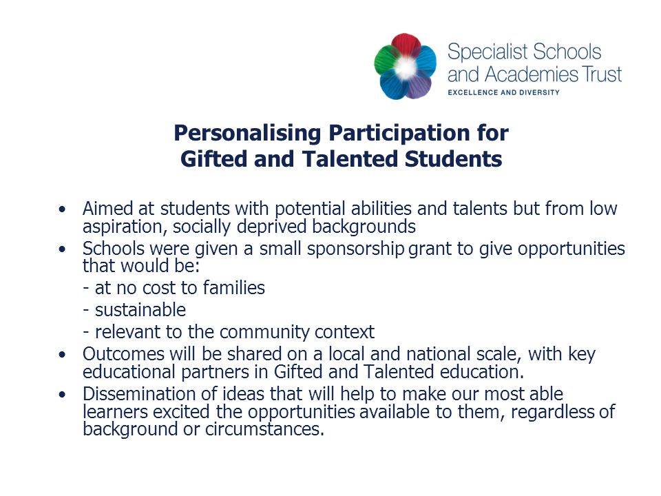 Personalising Participation for Gifted and Talented Students