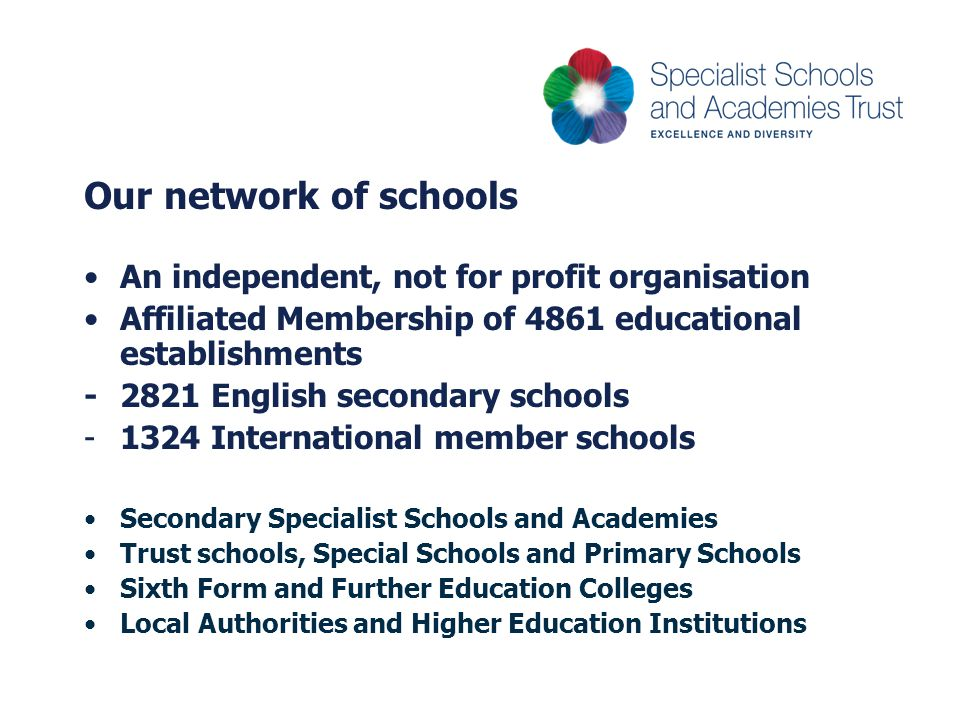 Our network of schools An independent, not for profit organisation