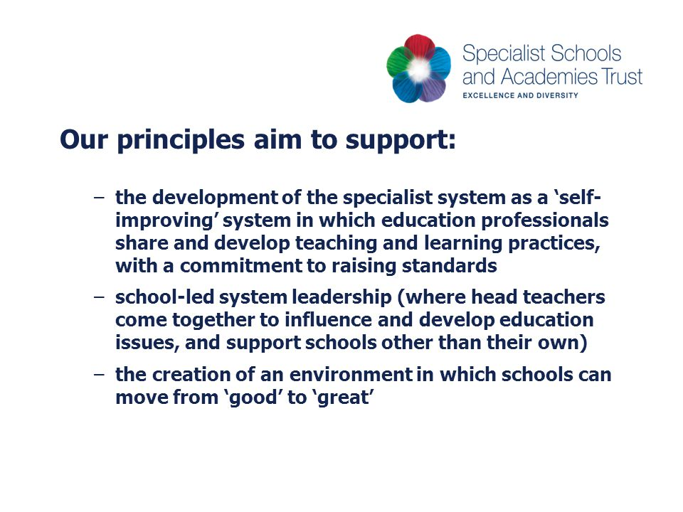 Our principles aim to support:
