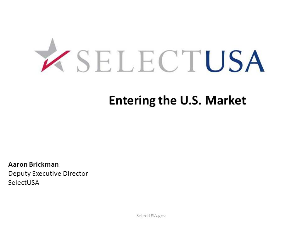 Entering the U.S. Market Aaron Brickman Deputy Executive Director