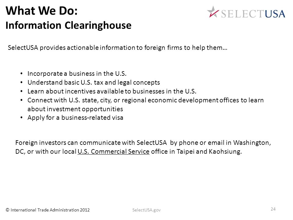 What We Do: Information Clearinghouse
