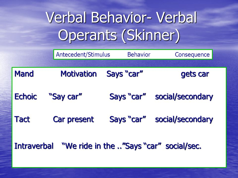 Verbal Behavior- Verbal Operants (Skinner)