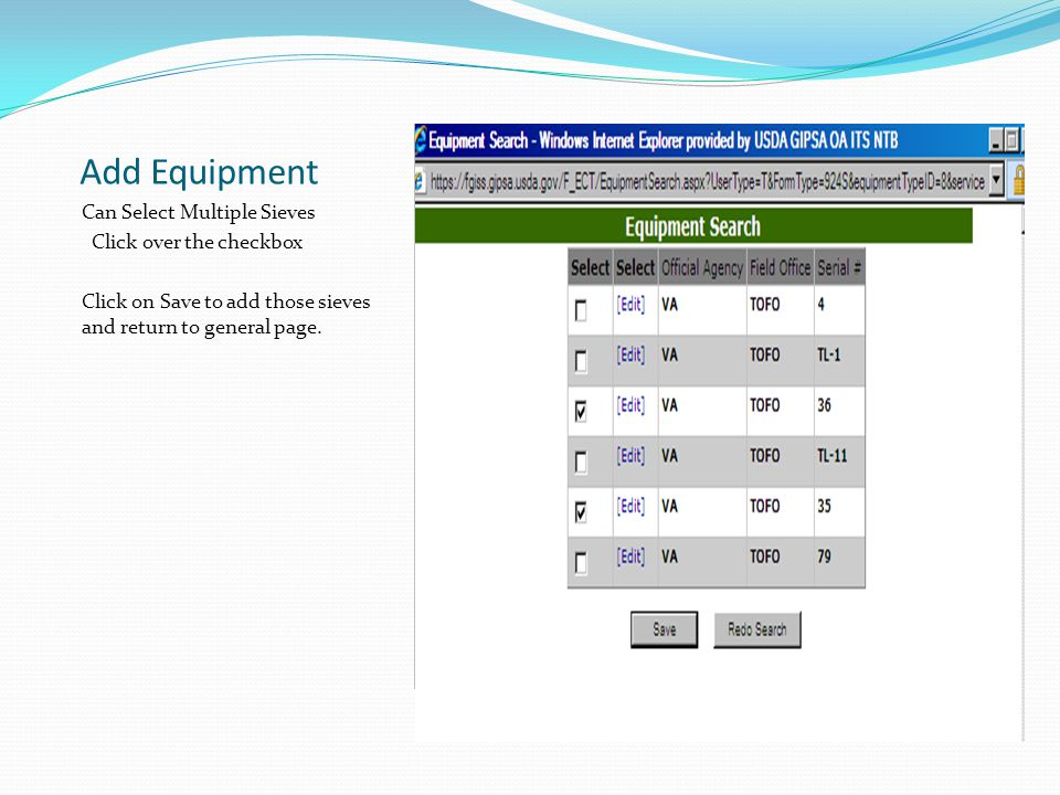 Add Equipment Can Select Multiple Sieves Click over the checkbox