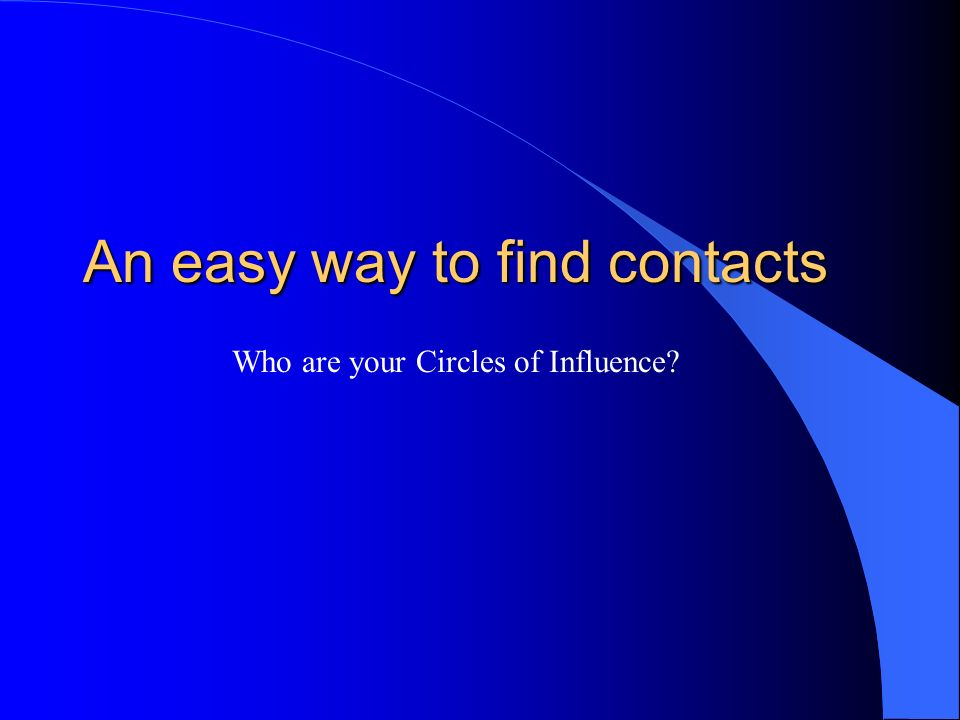An easy way to find contacts