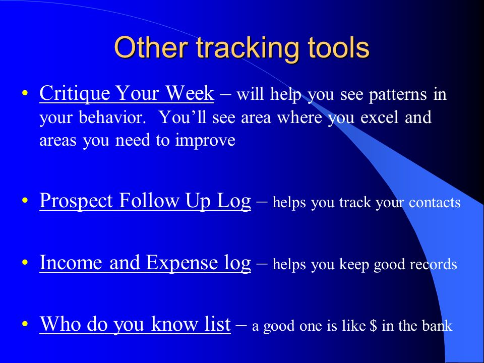 Other tracking tools Critique Your Week – will help you see patterns in your behavior. You'll see area where you excel and areas you need to improve.