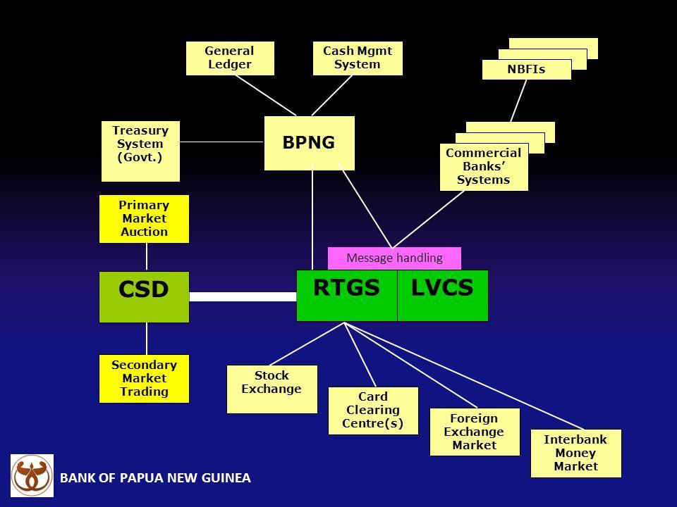 CSD RTGS LVCS BPNG Message handling General Ledger Cash Mgmt System