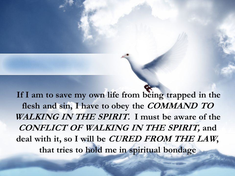 If I am to save my own life from being trapped in the flesh and sin, I have to obey the COMMAND TO WALKING IN THE SPIRIT.