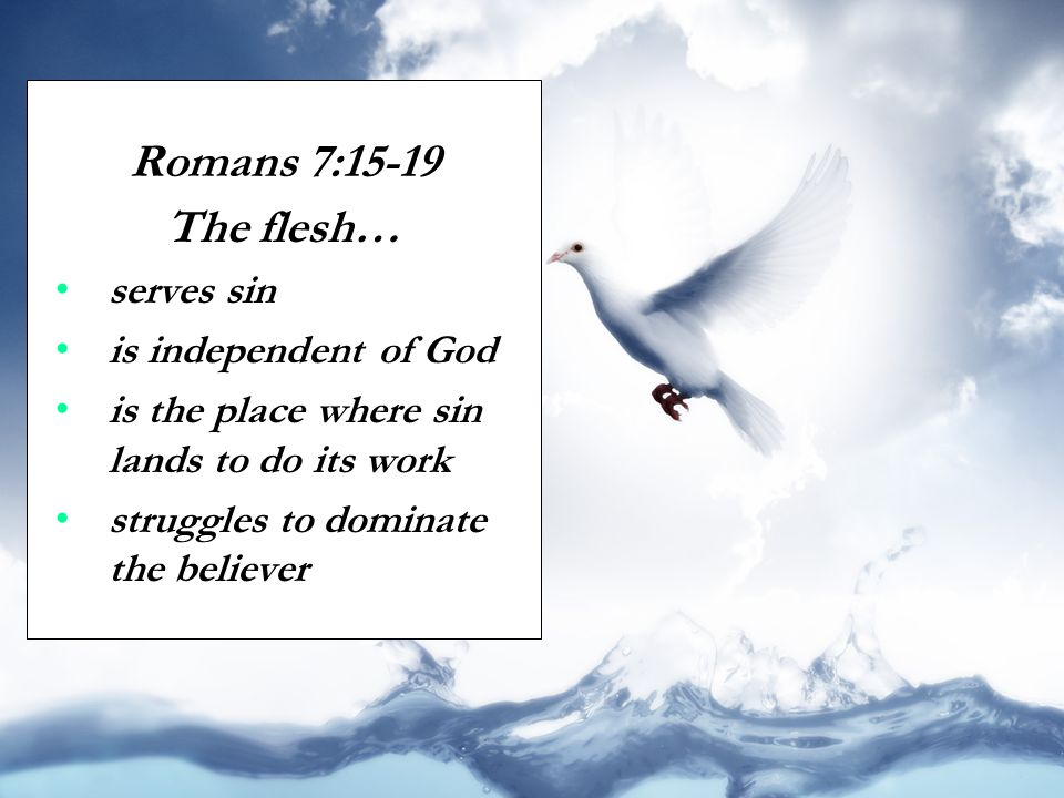 Romans 7:15-19 The flesh… serves sin is independent of God