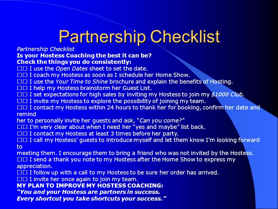Partnership Checklist