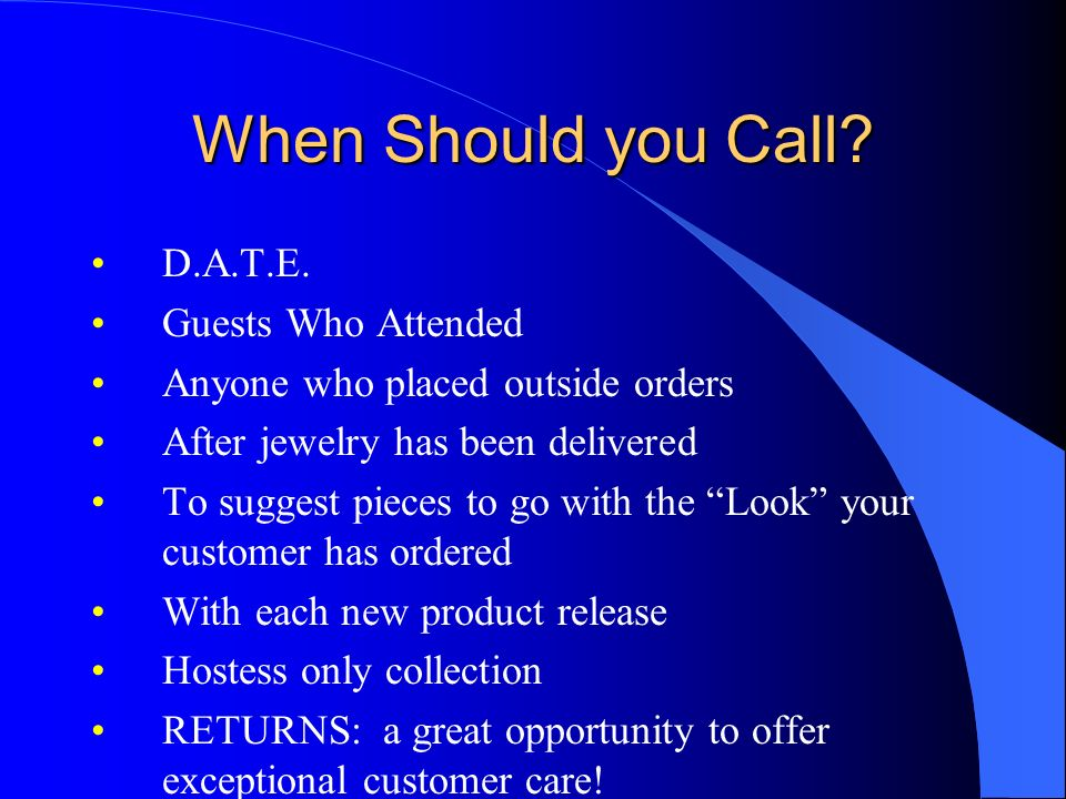 When Should you Call D.A.T.E. Guests Who Attended