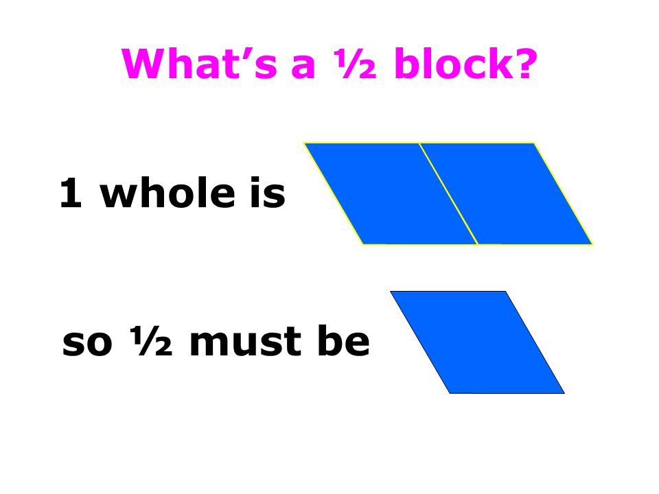 What's a ½ block 1 whole is so ½ must be