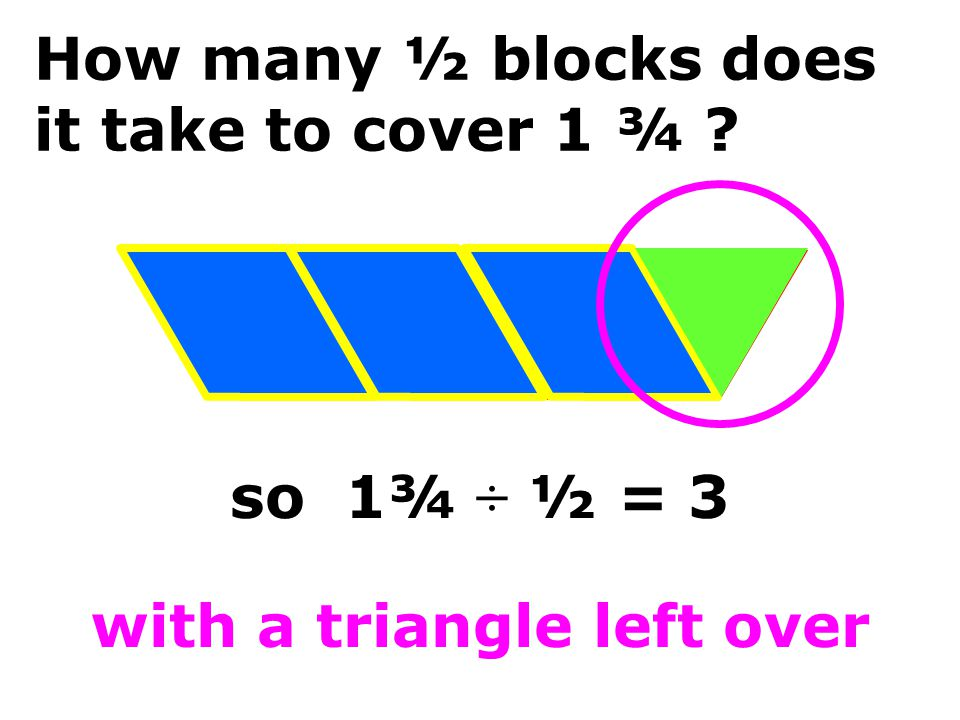 How many ½ blocks does it take to cover 1 ¾