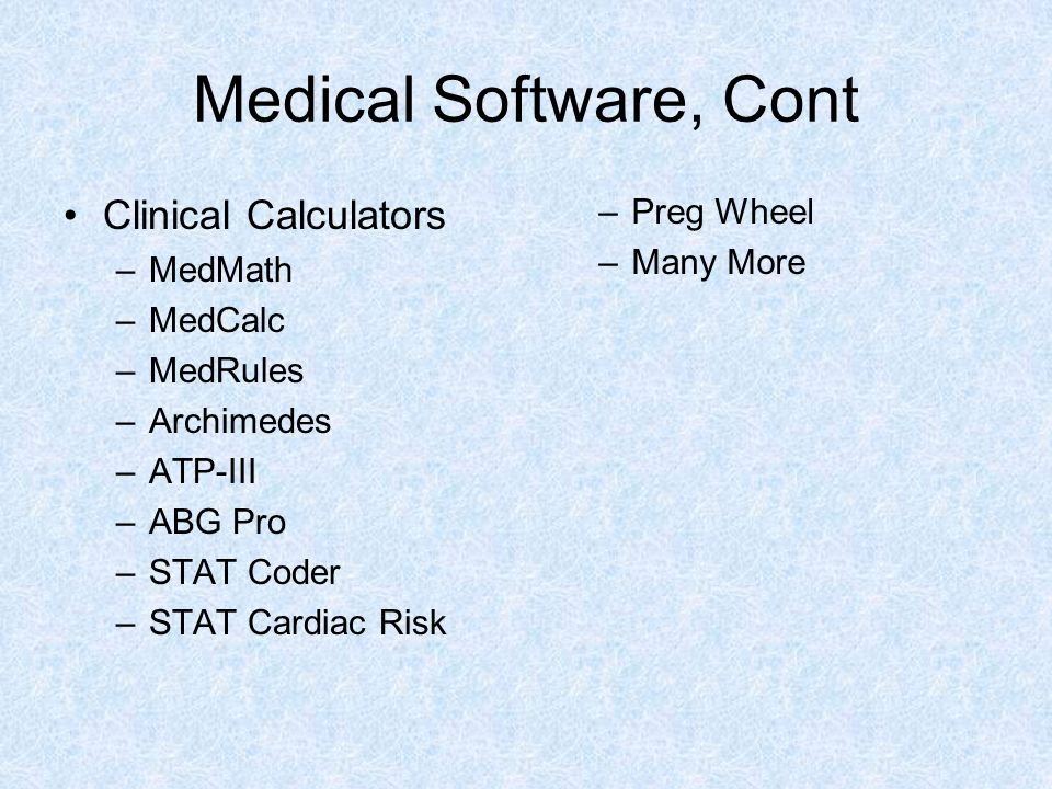 Medical Software, Cont Clinical Calculators Preg Wheel Many More