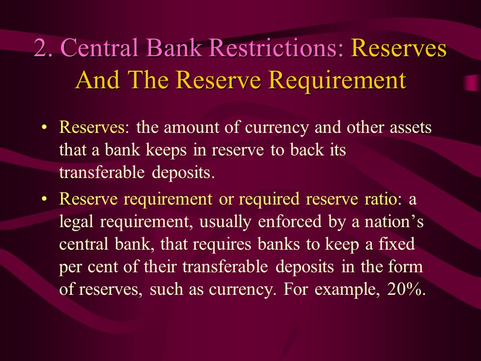 2. Central Bank Restrictions: Reserves And The Reserve Requirement