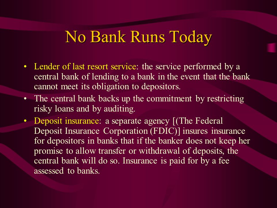 No Bank Runs Today