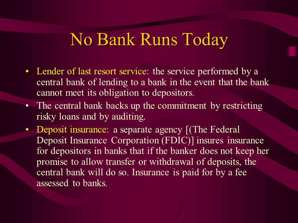 No Bank Runs Today