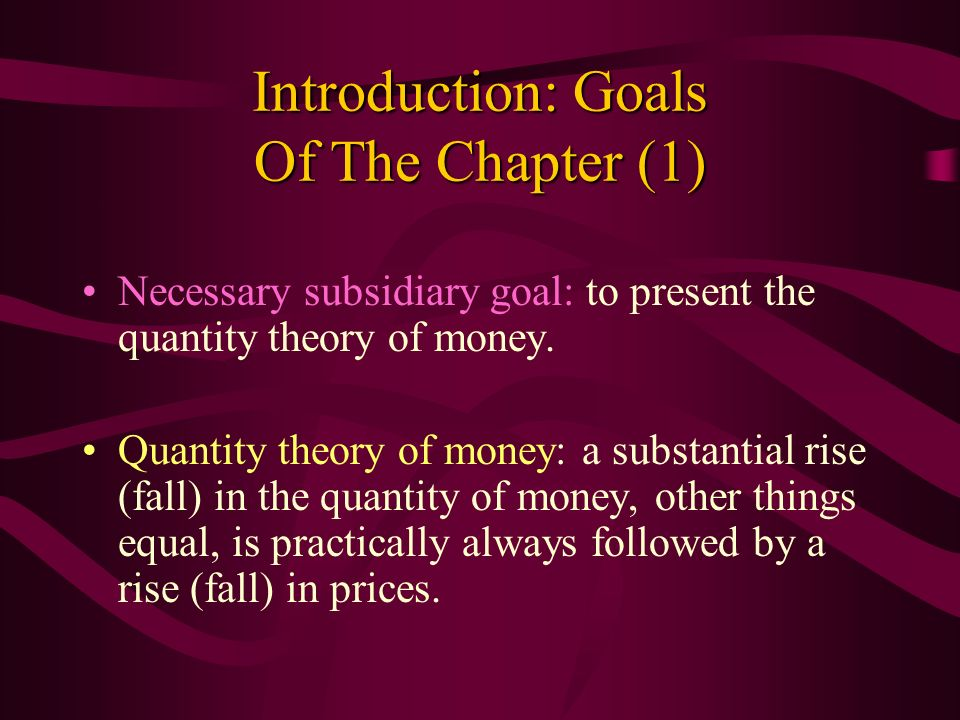 Introduction: Goals Of The Chapter (1)
