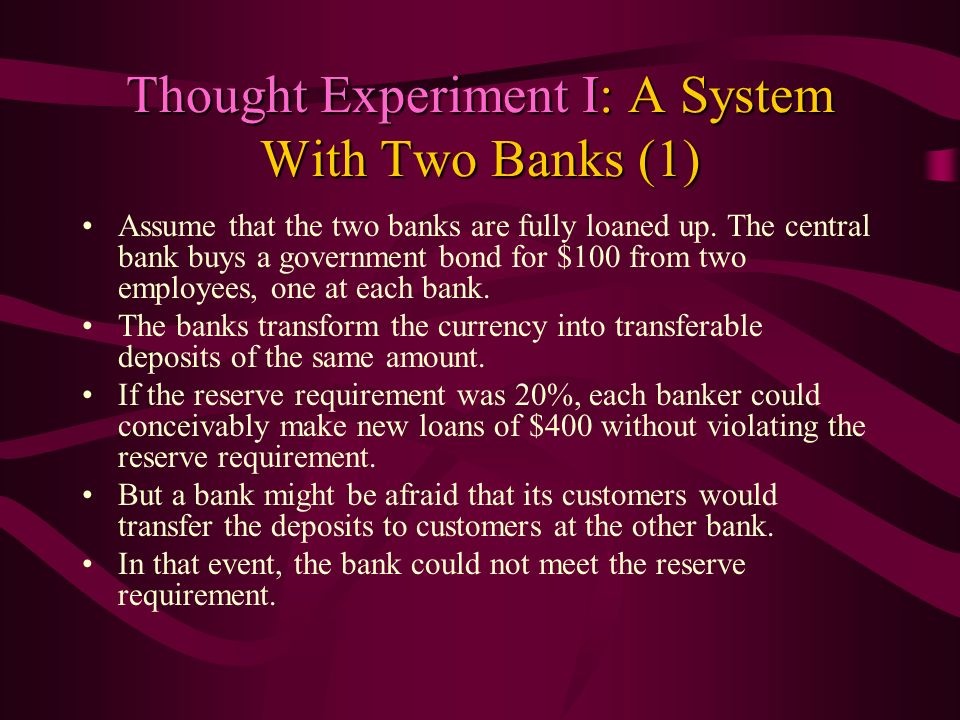 Thought Experiment I: A System With Two Banks (1)