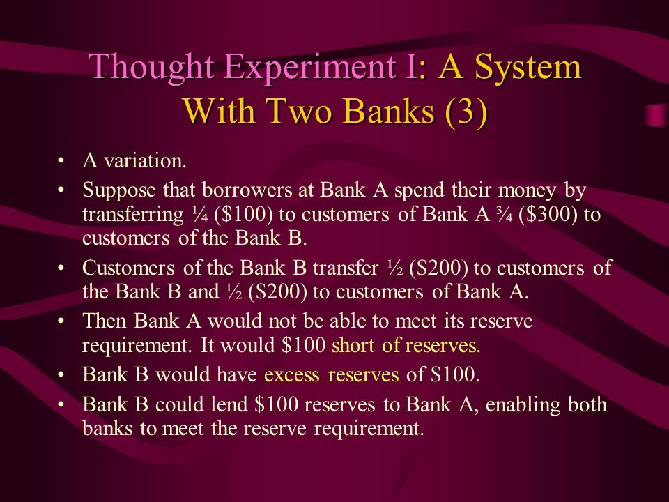 Thought Experiment I: A System With Two Banks (3)