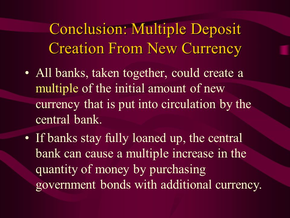 Conclusion: Multiple Deposit Creation From New Currency