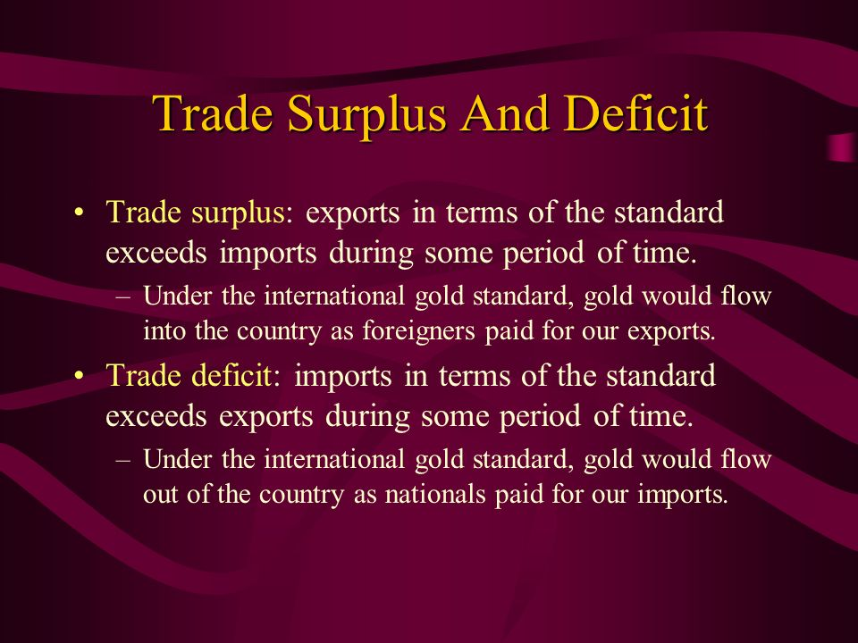 Trade Surplus And Deficit