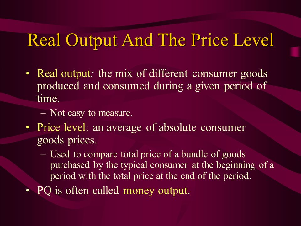 Real Output And The Price Level