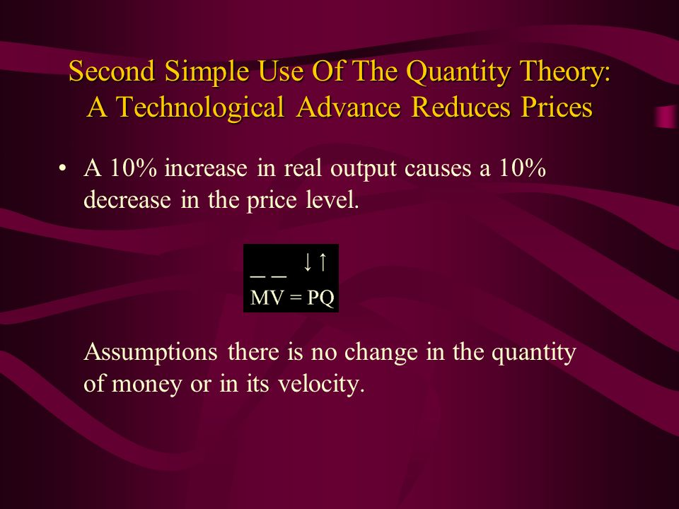 Second Simple Use Of The Quantity Theory: A Technological Advance Reduces Prices