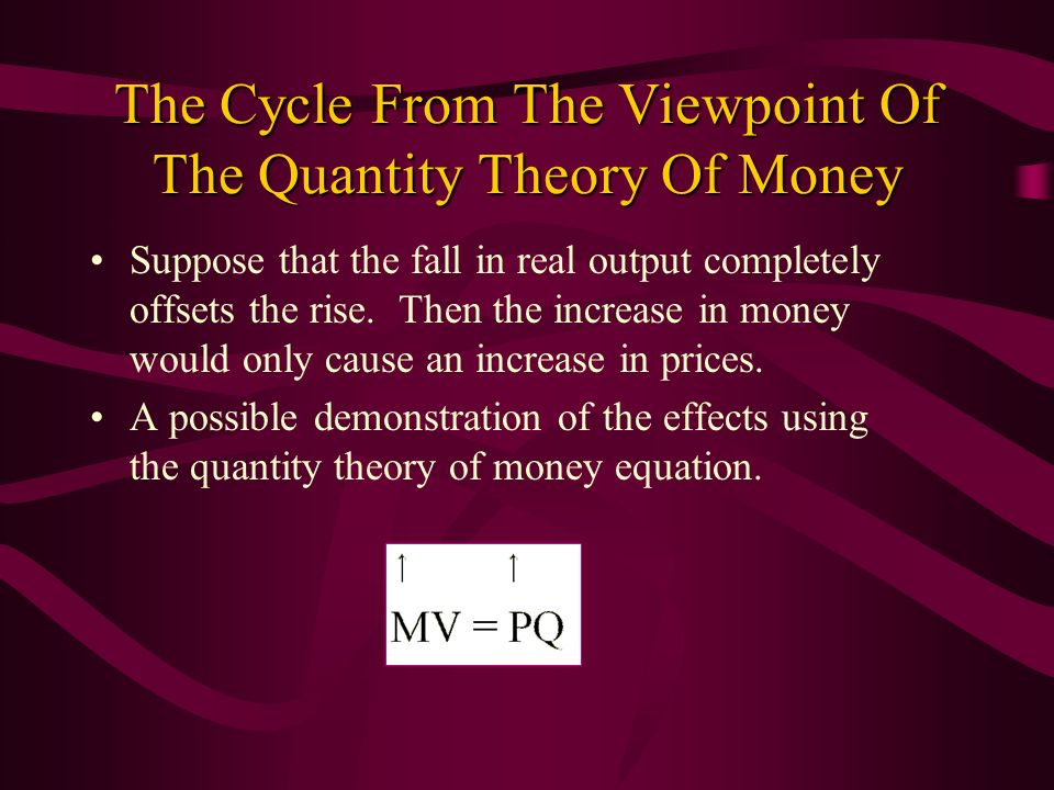 The Cycle From The Viewpoint Of The Quantity Theory Of Money