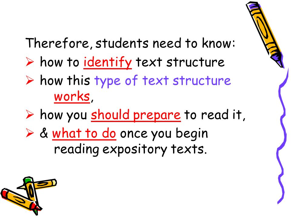 Therefore, students need to know: