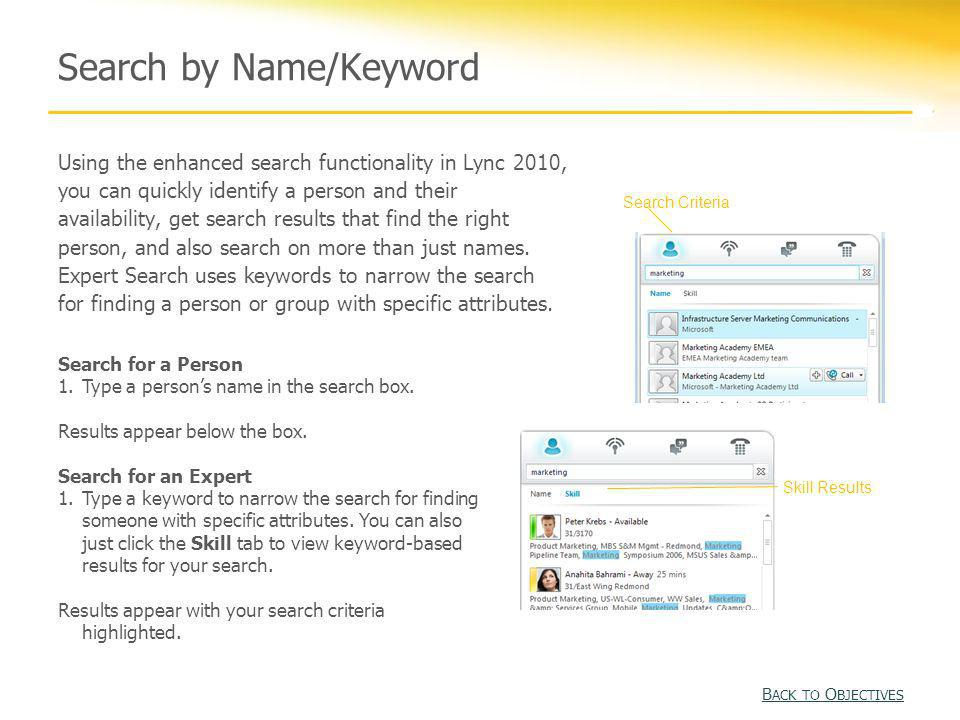 Search by Name/Keyword