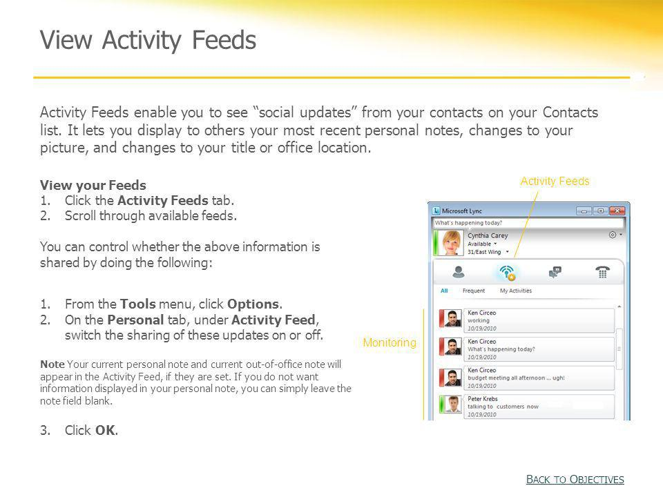 View Activity Feeds