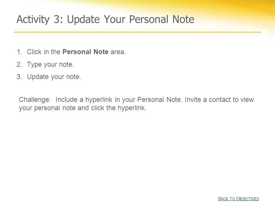 Activity 3: Update Your Personal Note