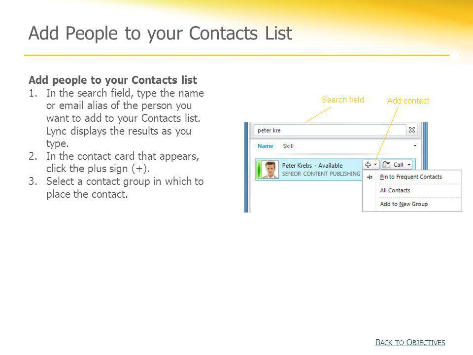 Add People to your Contacts List