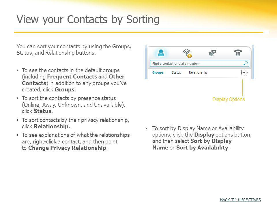 View your Contacts by Sorting