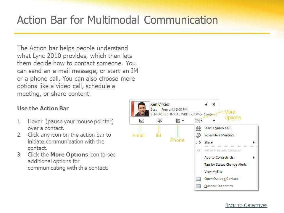 Action Bar for Multimodal Communication