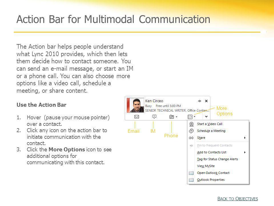 Action Bar for Multimodal Communication