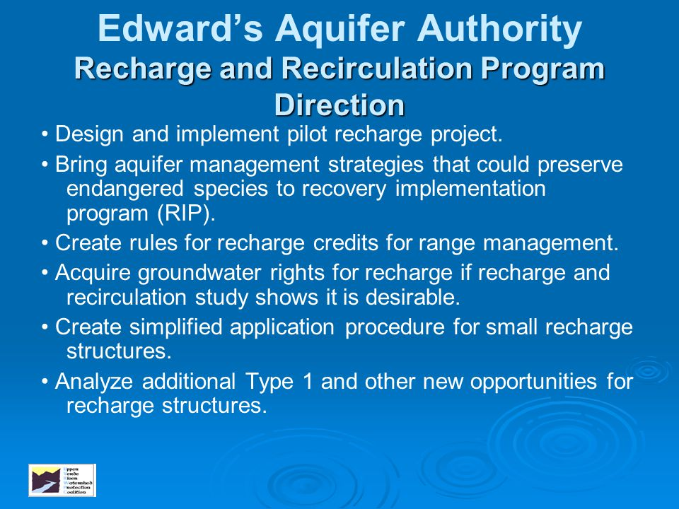Edward's Aquifer Authority Recharge and Recirculation Program Direction