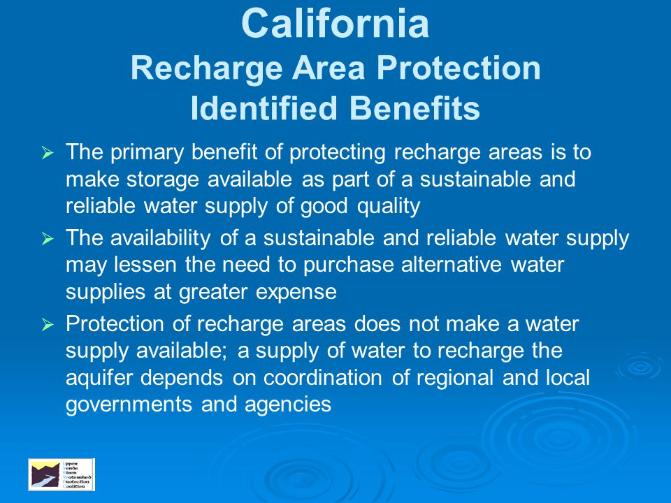California Recharge Area Protection Identified Benefits
