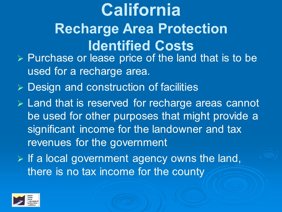 California Recharge Area Protection Identified Costs