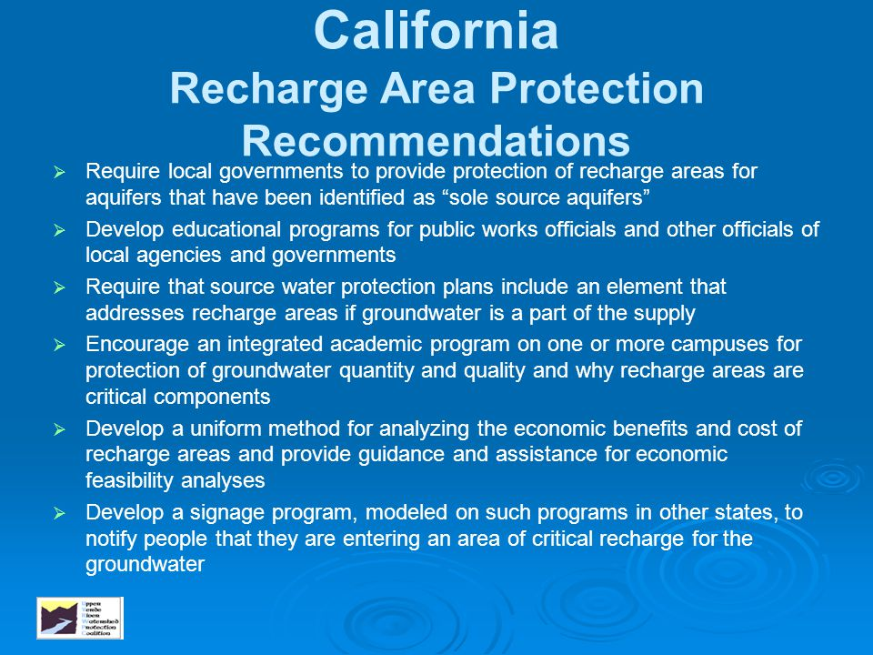California Recharge Area Protection Recommendations