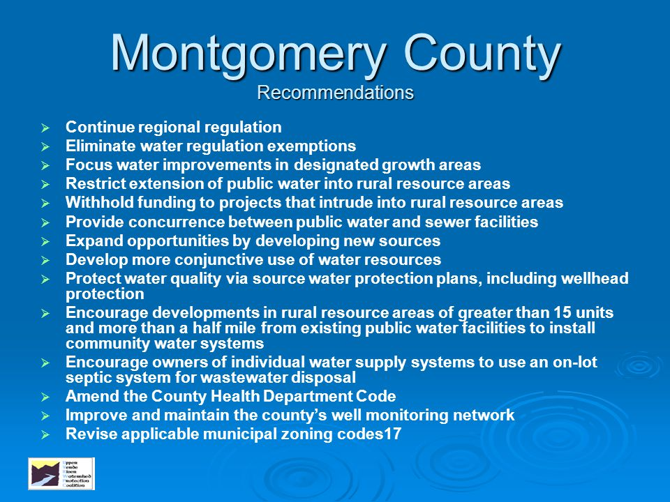Montgomery County Recommendations