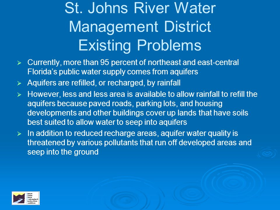 St. Johns River Water Management District Existing Problems