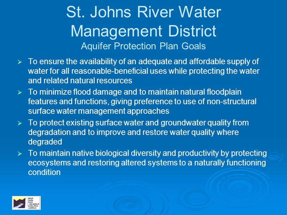 St. Johns River Water Management District Aquifer Protection Plan Goals