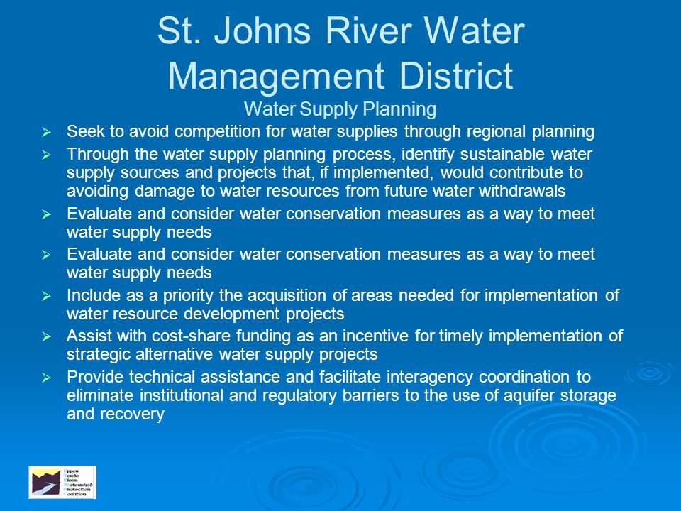 St. Johns River Water Management District Water Supply Planning