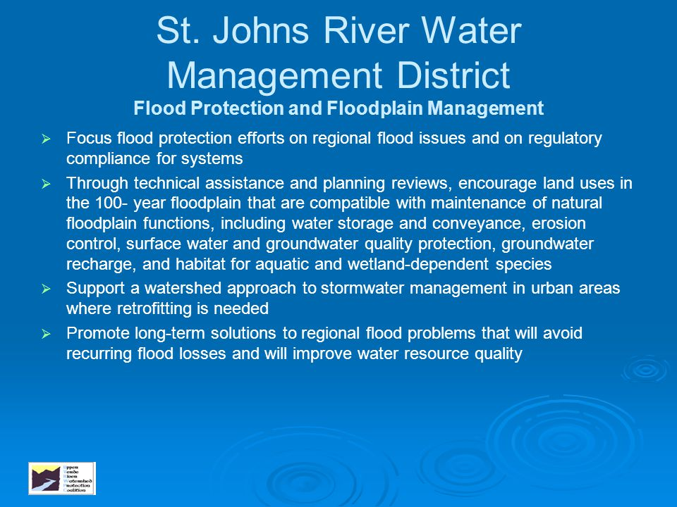 St. Johns River Water Management District Flood Protection and Floodplain Management