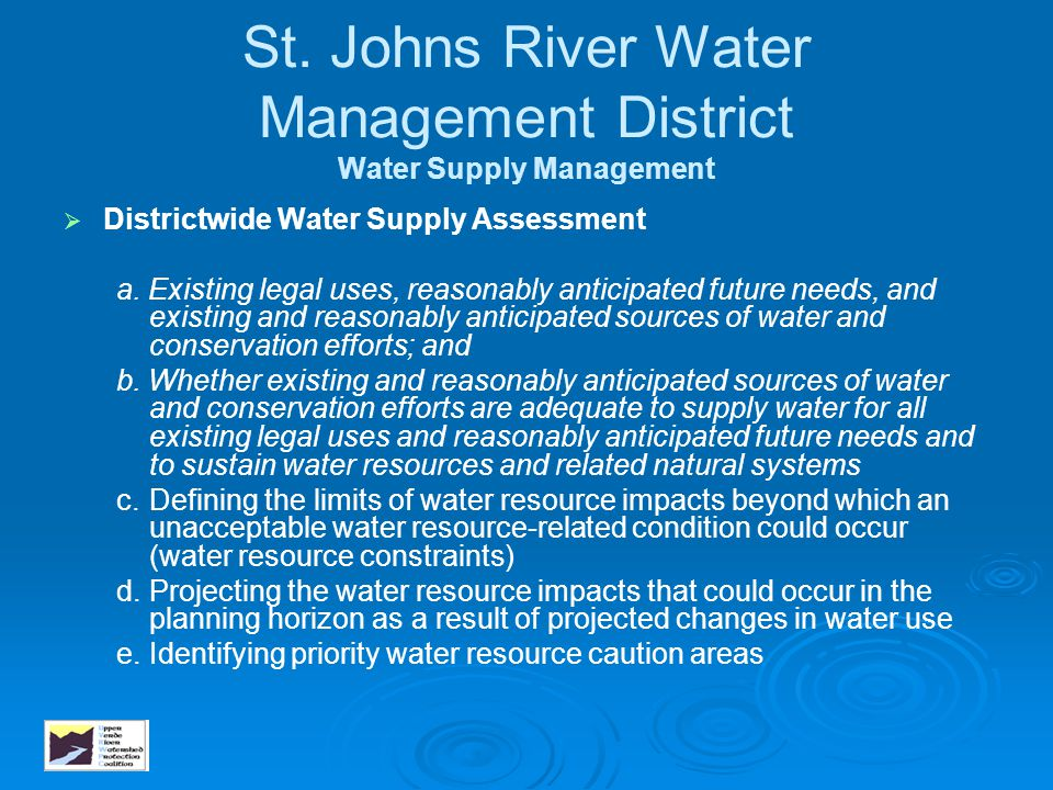 St. Johns River Water Management District Water Supply Management