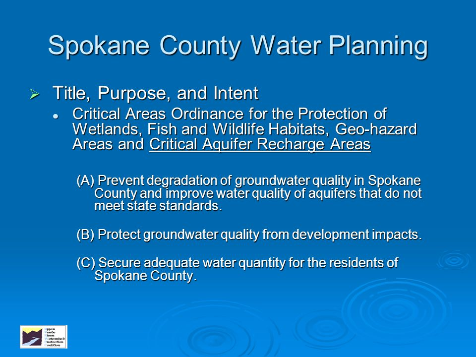 Spokane County Water Planning