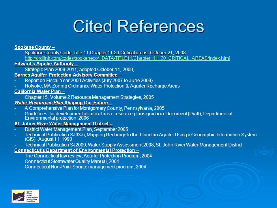 Cited References Spokane County –