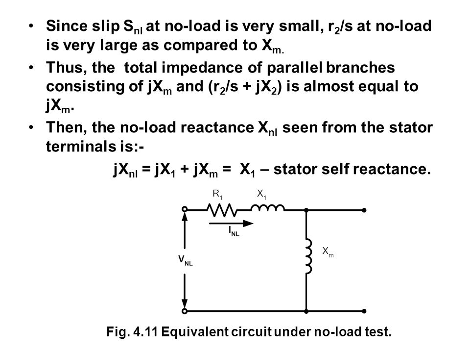 Then, the no-load reactance Xnl seen from the stator terminals is:-